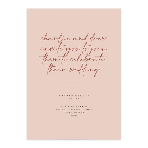 Romantic Bohemian wedding invitation front