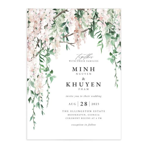 Romantic Wisteria Wedding Invitation front closeup in pink