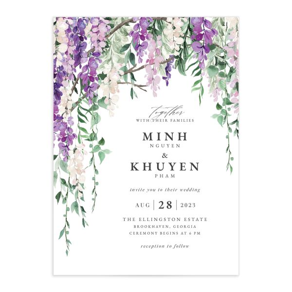 Romantic Wisteria Wedding Invitation front closeup in purple