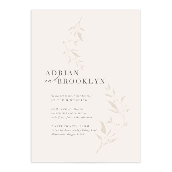 Rustic Minimal Invitation front in cream