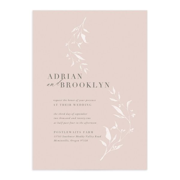 Rustic Minimal Invitation front in pink