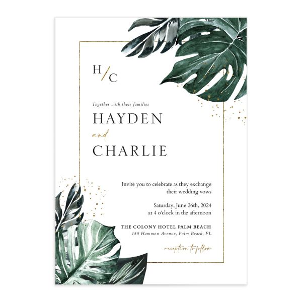 Tropical Monstera wedding invitation front