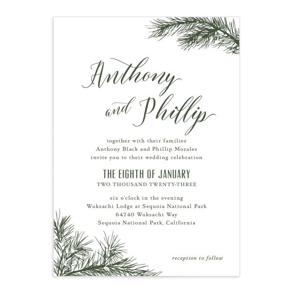 Winter Fir wedding invitation front green