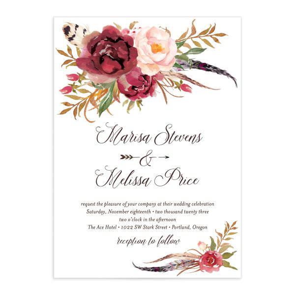 Bohemian Floral Wedding Invitation front burgundy