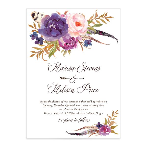 Bohemian Floral Wedding Invitation front purple