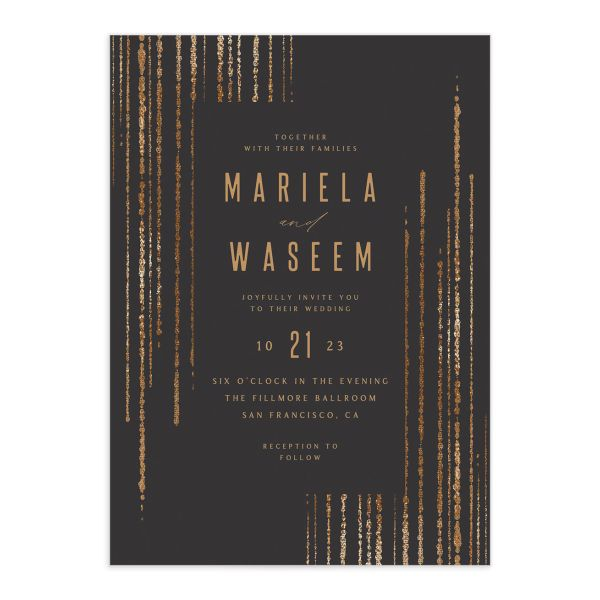 Classic Cascade Wedding Invitation front closeup in black