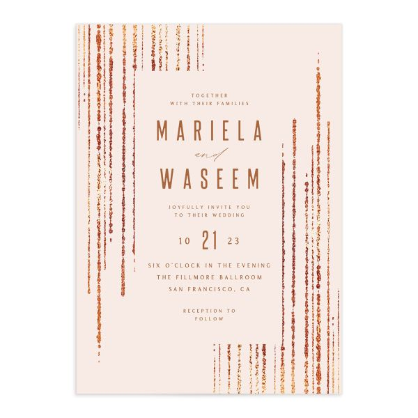 Classic Cascade Wedding Invitation front closeup in pink