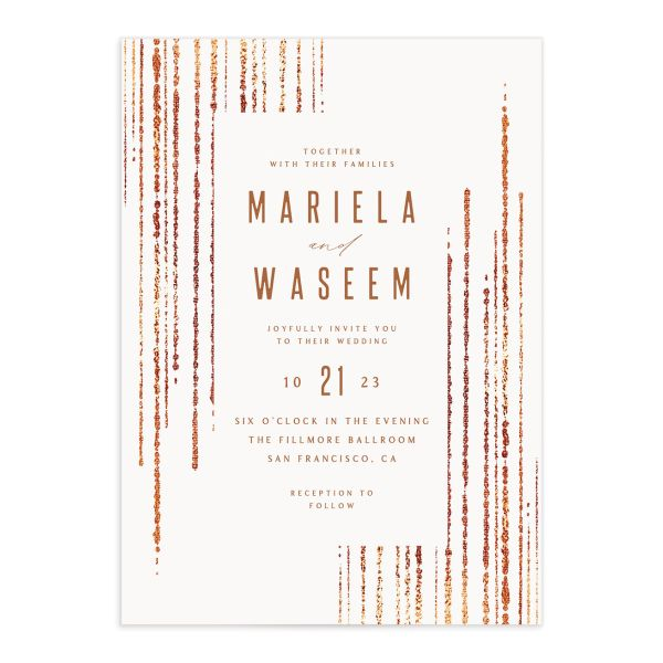 Classic Cascade Wedding Invitation front closeup in white