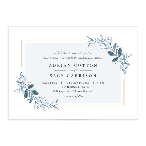 Classic Greenery Wedding Invitation front closeup in blue