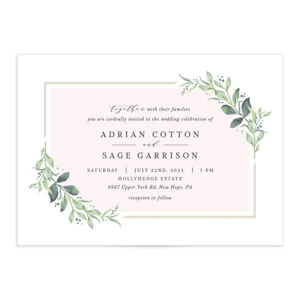 Classic Greenery Wedding Invitation front closeup in pink
