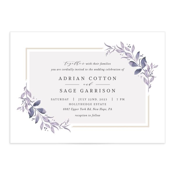 Classic Greenery Wedding Invitation front closeup in purple
