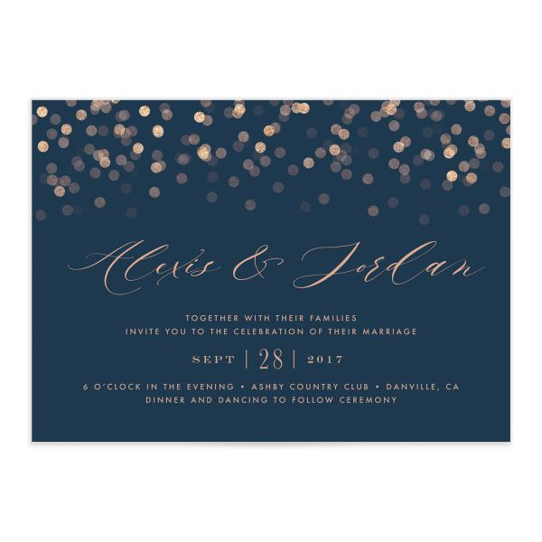 Elegant Glow Wedding Invitation front closeup in blue