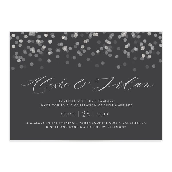Elegant Glow Wedding Invitation front closeup in grey