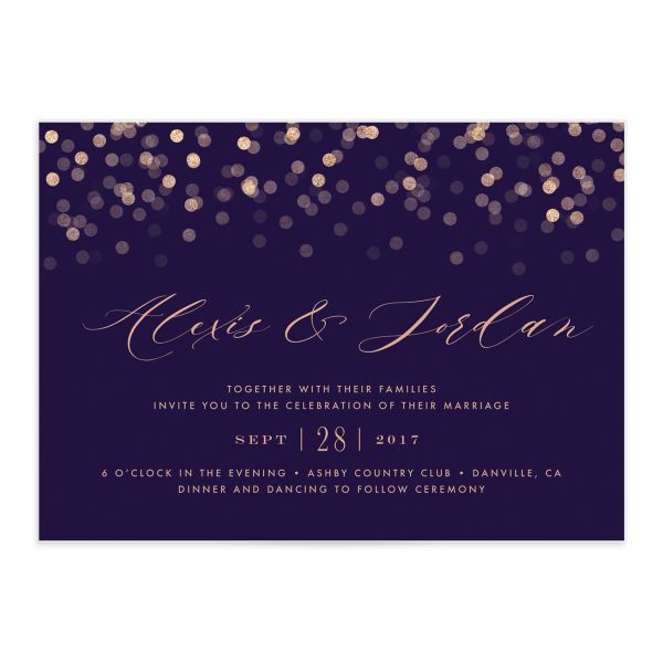 Elegant Glow Wedding Invitation front closeup in purple