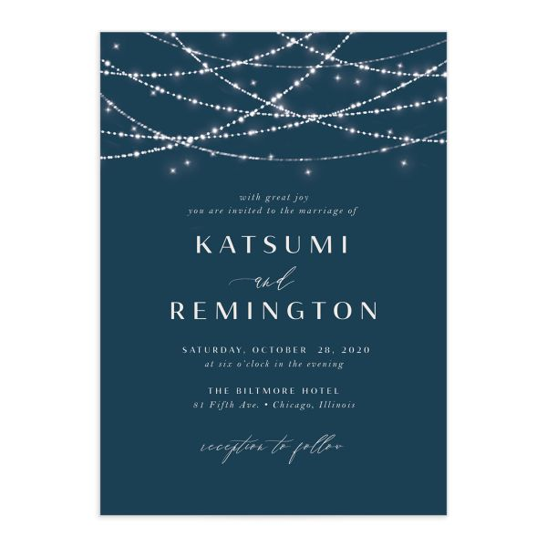 Elegant Lights Wedding Invitation front closeup