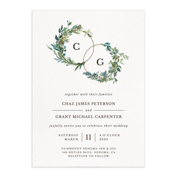 Leafy Hoops Wedding Invitations