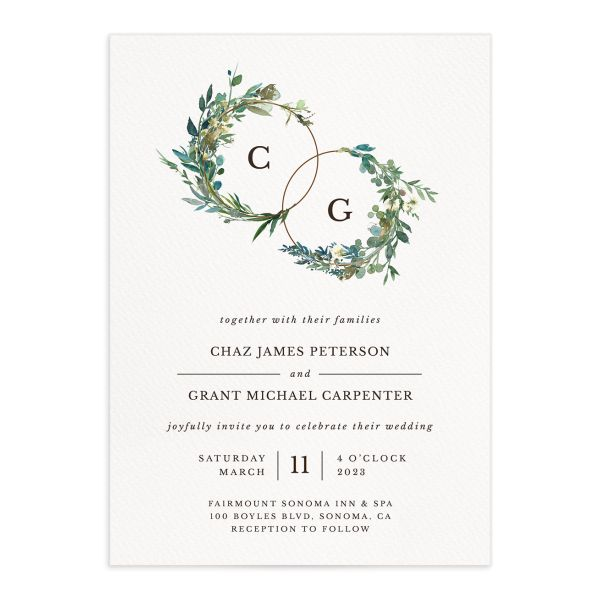 Leafy Hoops Wedding Invitation front closeup