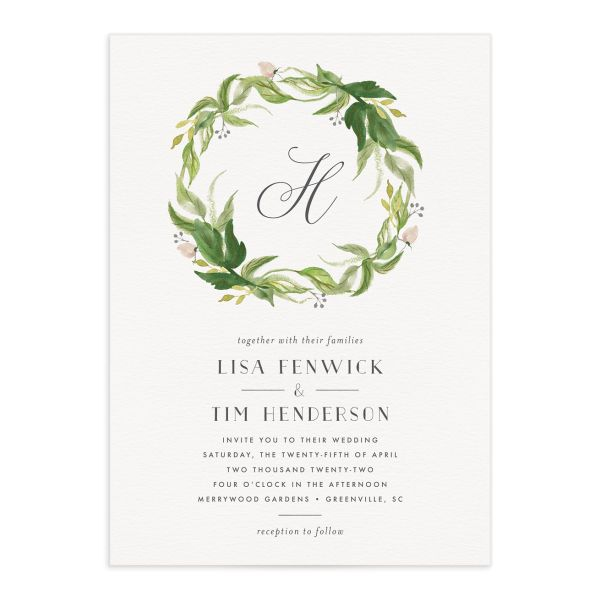 Leafy Wreath Wedding Invitation front green