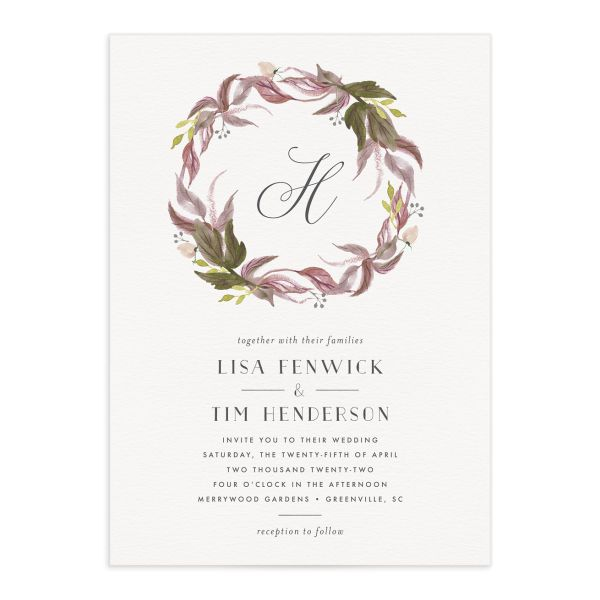 Leafy Wreath Wedding Stationery Suite purple