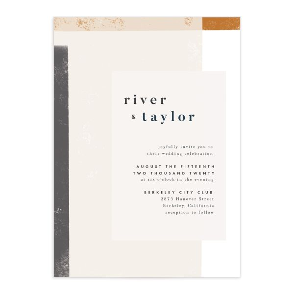 Modern Colorblock Wedding Invitation front closeup in grey
