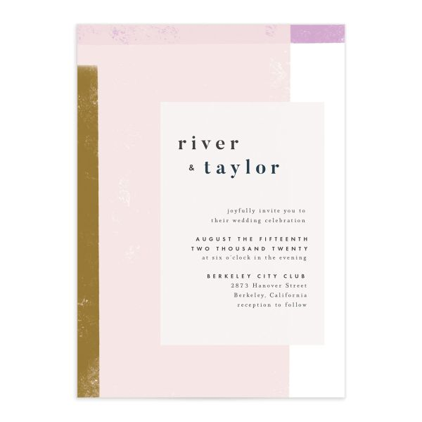 Modern Colorblock Wedding Invitation front closeup in pink