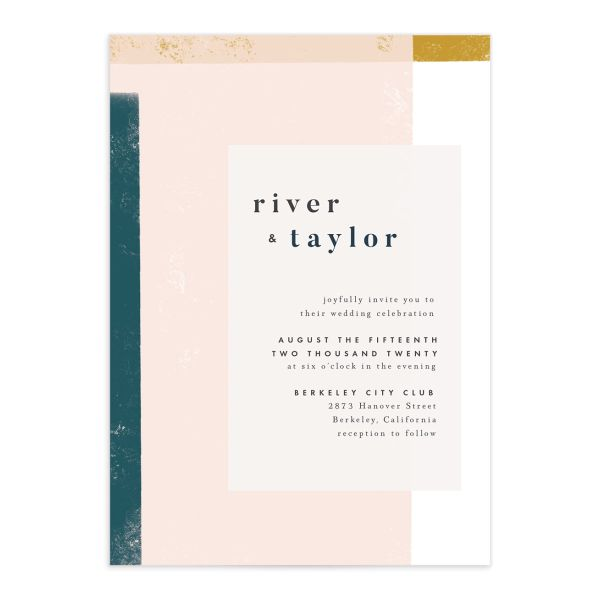 Modern Colorblock Wedding Invitation front closeup in teal