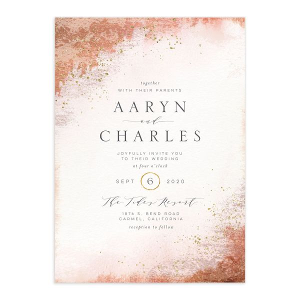 Organic Luxe Wedding Invitation front orange