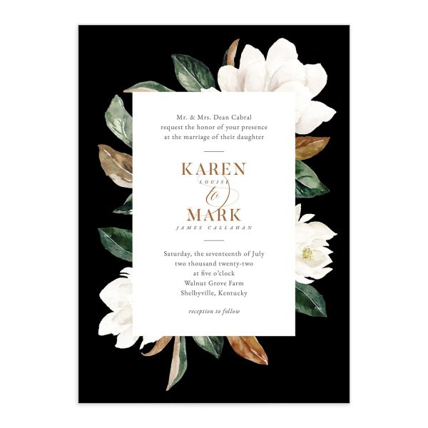 Painted Magnolia Wedding Invitation front closeup in black