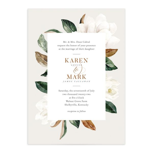 Painted Magnolia Wedding Invitation front closeup in grey
