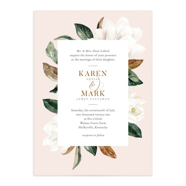 Painted Magnolia Wedding Invitation front closeup in pink