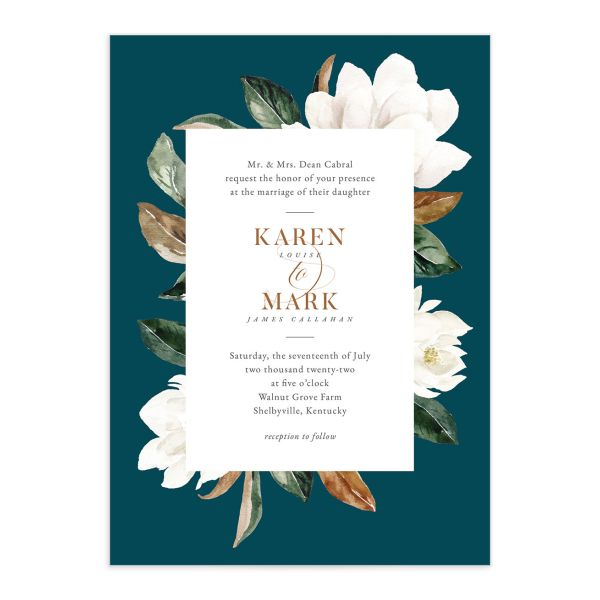 Painted Magnolia Wedding Invitation front closeup in teal
