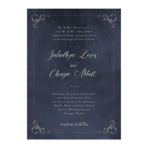 Vintage Luxe Wedding Invitation front blue