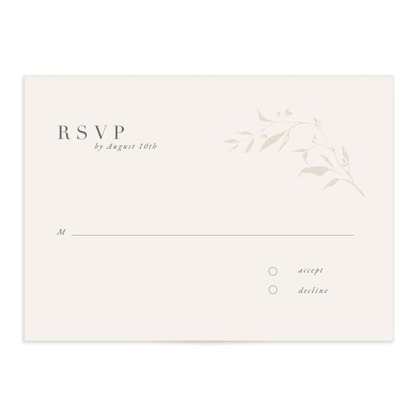 Rustic Minimal Wedding Response Card front in cream