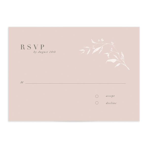 Rustic Minimal Wedding Response Card front in pink