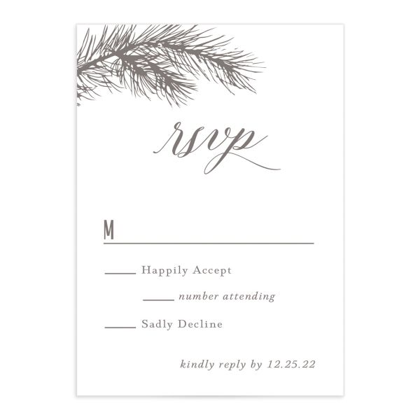 Winter Fir RSVP card front brown