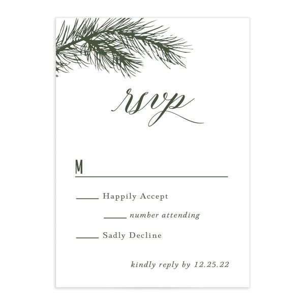 Winter Fir RSVP card front green