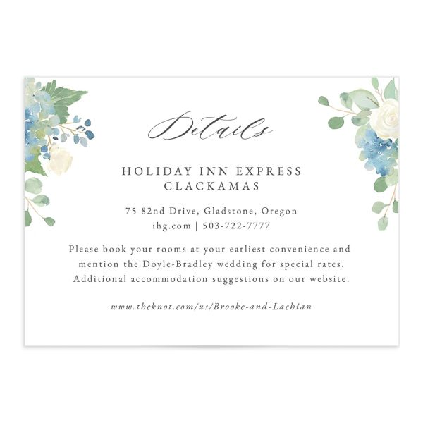Elegant Hydrangea Wedding Enclosure Cards