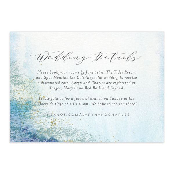 Organic Luxe Wedding Enclosure Card front blue