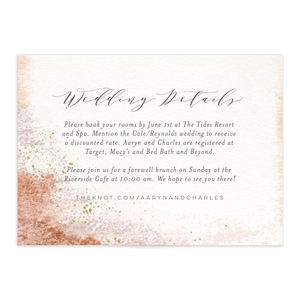 Organic Luxe Wedding Enclosure Card front orange