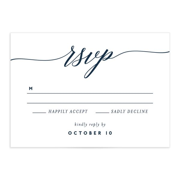 We Do Wedding Response Card front blue