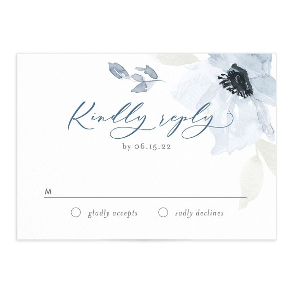 Shades of Blue Wedding Response Card front
