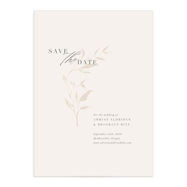 Rustic Minimal Save the Date front closeup in cream
