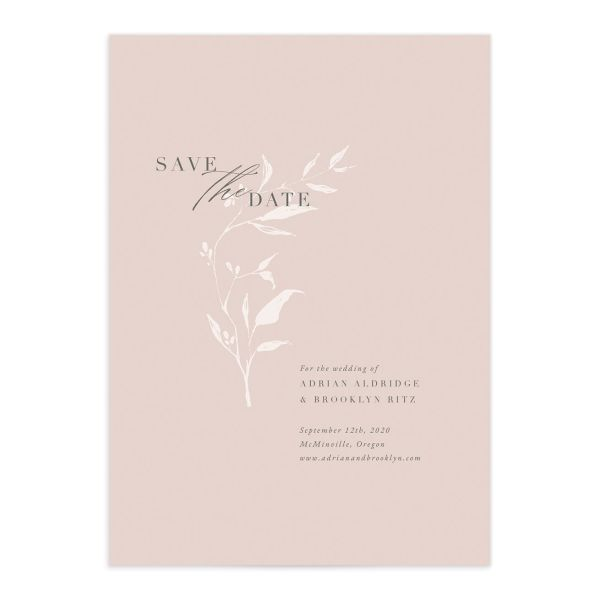 Rustic Minimal Save the Date front closeup in pink