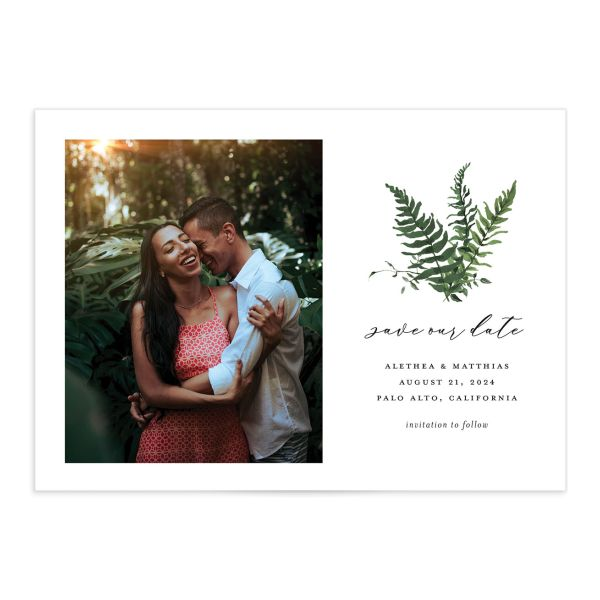 Woodsy Fern Save the Date front dark green
