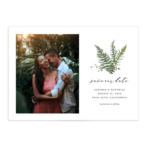 Woodsy Fern Save the Date front light green