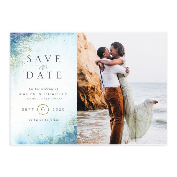 Organic Luxe Save the Date Card front blue