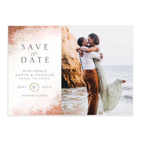 Organic Luxe Save the Date Card front orange