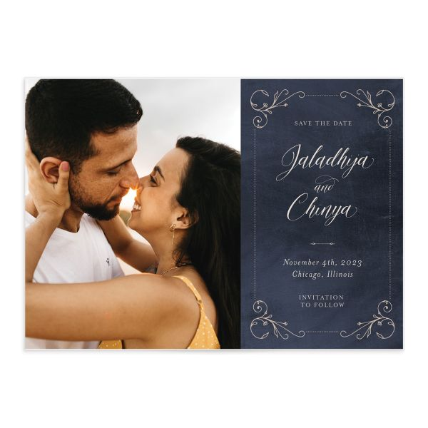Vintage Luxe Wedding Save the Date Card front blue