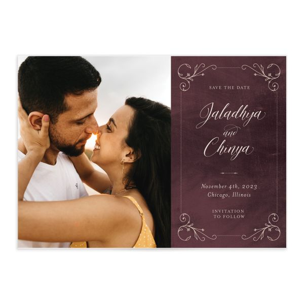 Vintage Luxe Wedding Save the Date Card front red