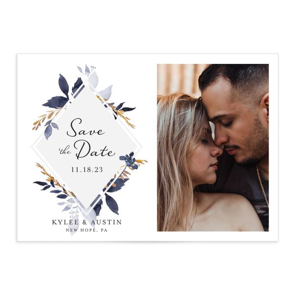 Leafy Frame Save the Date Card front navy